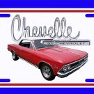 NEW 1966 Red Chevy Chevelle white top w/ Chevelle Logo License Plate FREE SHIPPING!