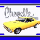 NEW 1966 Yellow Chevy Chevelle w/ Chevelle Logo License Plate FREE SHIPPING!