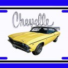 NEW 1969 Yellow Chevy Chevelle w/ Chevelle Logo License Plate FREE SHIPPING!