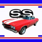 NEW 1970 Red w/White Chevy Chevelle SS w/ SS Logo License Plate FREE SHIPPING!