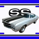 NEW 1970 Silver Chevy Chevelle SS w/ SS Logo License Plate FREE SHIPPING!
