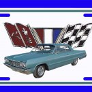NEW 1964 Blue Chevy Impala License Plate FREE SHIPPING!