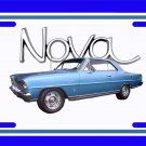 NEW 1966 Blue Chevy Nova w/ Nova Logo License Plate FREE SHIPPING!