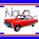 NEW 1966 Red Chevy Nova w/ Nova Logo License Plate FREE SHIPPING!