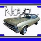 NEW 1968 Green Chevy Nova w/ Nova Logo License Plate FREE SHIPPING!