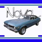 NEW 1972 Blue w/black vinyl Chevy Nova w/ Nova Logo License Plate FREE SHIPPING!