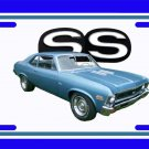 NEW 1972 Blue Chevy Nova w/ SS Logo License Plate FREE SHIPPING!