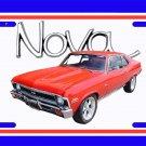 NEW 1972 Red Chevy Nova w/ Nova Logo License Plate FREE SHIPPING!