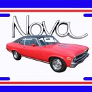 NEW 1972 Red w/black vinyl Chevy Nova w/ Nova Logo License Plate FREE SHIPPING!