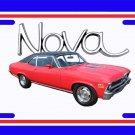 NEW 1972 Red w/black vinyl Chevy Nova w/ Nova Logo License Plate FREE SHIPPING!