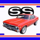NEW 1972 Red Chevy Nova w/ SS Logo License Plate FREE SHIPPING!