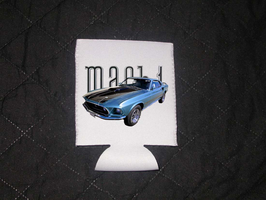 New 1969 Blue Ford Mustang Mach 1 Coozie (Beverage insulator)