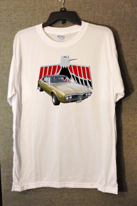 New 1967 Gold Pontiac Firebird convertible white T-shirt  (3X-Large)