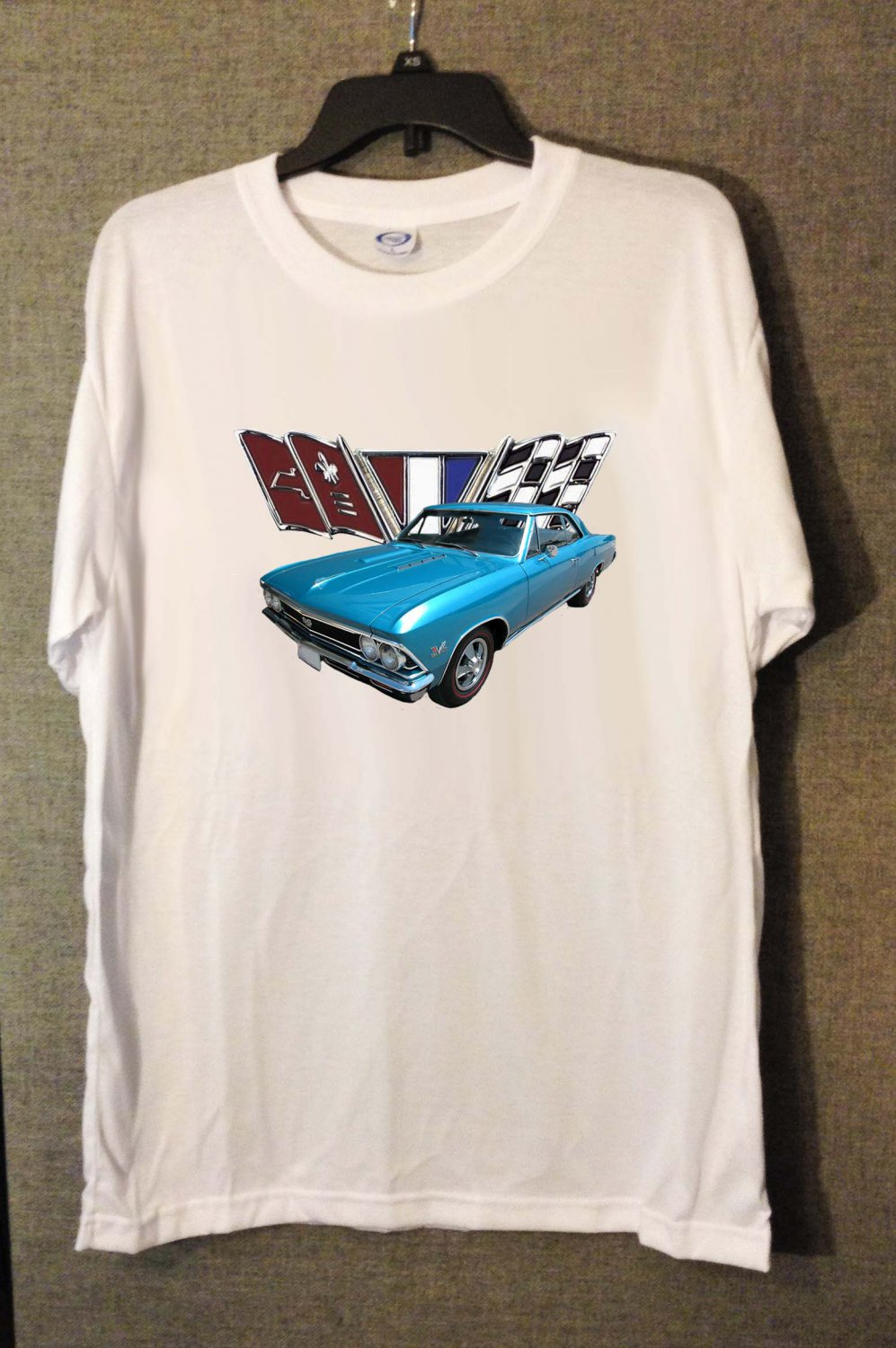 New Blue 1966 Chevy Chevelle Flag LOGO white T-shirt  (Medium)