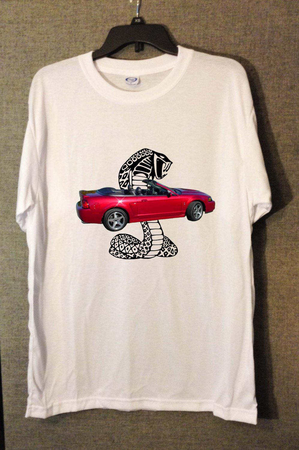 New Red 2003 Ford Mustang Cobra white T-shirt  (Extra Large)