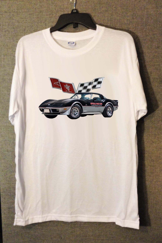 New 1978 Chevy Corvette Pace Car white T-shirt  (3X-Large)