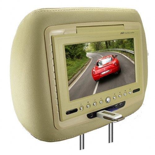 7 Inch LCD Car Headrest DVD Player + FM Transmitter -Pair -Tan New