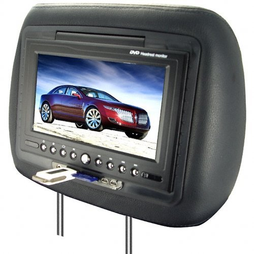 7 Inch LCD Car Headrest DVD Player + FM Transmitter -Pair -Black New