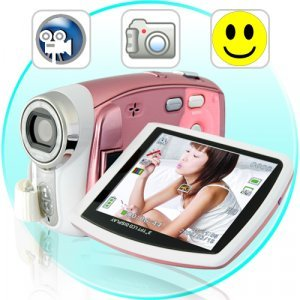 Paris - Digital Camcorder w/ Face Detection, 8x Zoom (Pink) New