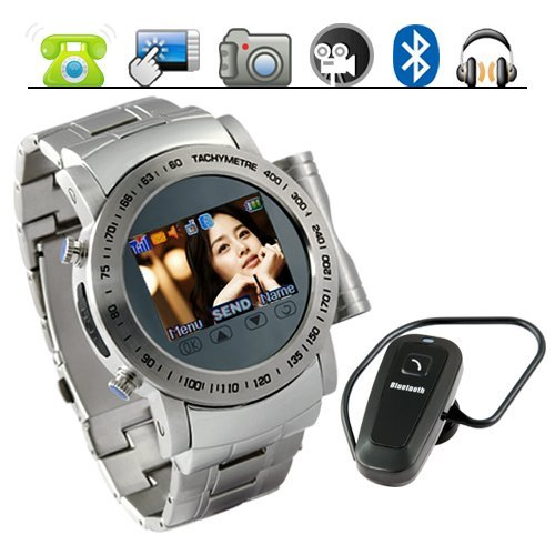 Gauntlet - Stainless Steel Quad Band Watchphone + MP4 New