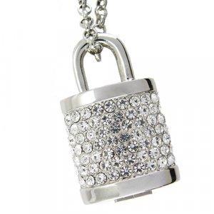 8GB USB Flash Drive Necklace - Jeweled Metal Lock New
