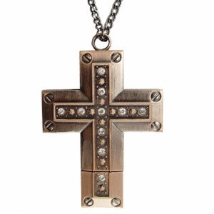 8GB USB Flash Drive Necklace - Elegant Antique Brass Cross New