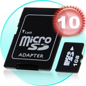 1GB MicroSD / TF Card with SD Card Slot Adapter  x 10 New