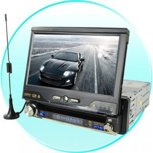 1-DIN Car GPS + DVD + Bluetooth System with 7 Inch Touchscreen New