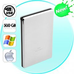 Silver Arrow - Compact 500GB External HDD (PC and Mac)
