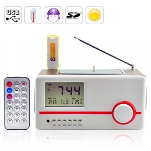 Solar Mini Speaker Charger + MP3 Player + Alarm Clock