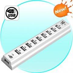 10 Port USB 2.0 Hub - 480Mbps Transfer Speed