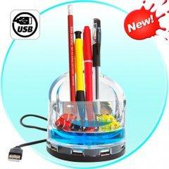 4 Port USB Hub With Illuminated Fish Tank + Pen/Phone Holder