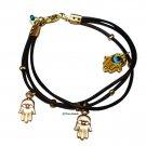 Triple Hamsa multi leather strands bracelet