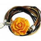 Leather wrap bracelet with a big caramel rose - charm bracelet