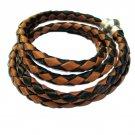 Braid black & brown Bolo leather wrap bracelet