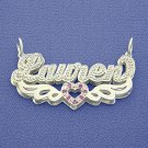 Sterling Silver Personalized 3D Double Name Pendant Necklace SD20