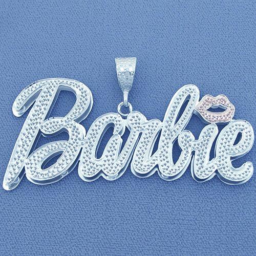 Large Silver Nicki Minaj Barbie Name Pendant Necklace SD63