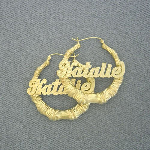 10kt Gold Personalized Name Bamboo Earrings 1 11/16 Inch GB24