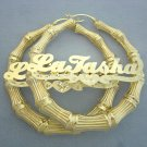 Large 14K Gold Name Bamboo Hoop Earrings 2 7/8 Inch GB46