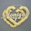 Big 10K Iced Out Name Puffy Heart Bamboo Earrings 3 Inch HB76