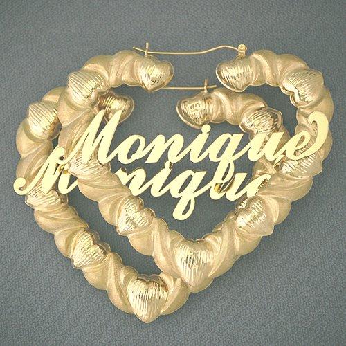 10K Gold Personalized Diamond Cut Heart Hoop Earrings 3 Inch HB86