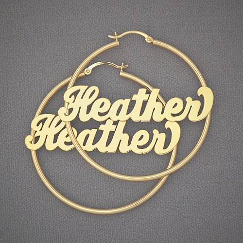 Personalized 14K Gold Name Hoop Earrings 2 Inch GH016N