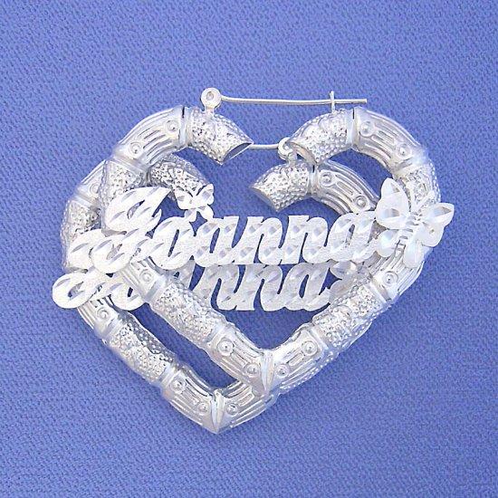 "Personalized Silver Heart Bamboo Butterflies Name Earrings 2 1/4"" SB44"