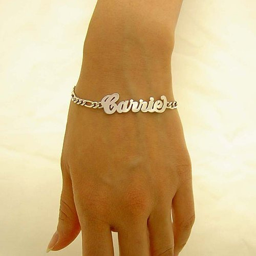Personalized Sterling Silver High-Polished Name Figaro Bracelet BS01