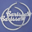 Personalized Sterling Silver Round Name Hoop Earrings 2 1/2 Inch SH48