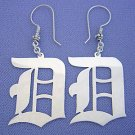 Sterling Silver Dangling Old English Initial Earrings 1 1/2 Inch SI12