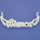 Silver Personalized Double Plate Name Pendant Necklace SD40X