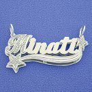 Silver Double Plate Personalized Name Pendant Necklace SD43
