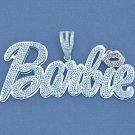 4 Inch Wide Silver Nicki Minaj Barbie Name Pendant Necklace SD64
