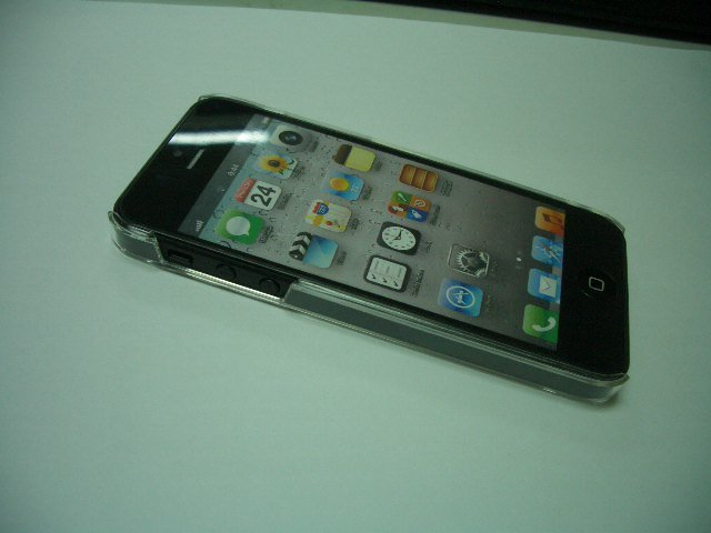 For iPhone 5 PC hard cover transparent with crystal protector for iPhone 5